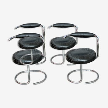 Set of 4 Cobra chairs by Giotto Stoppino