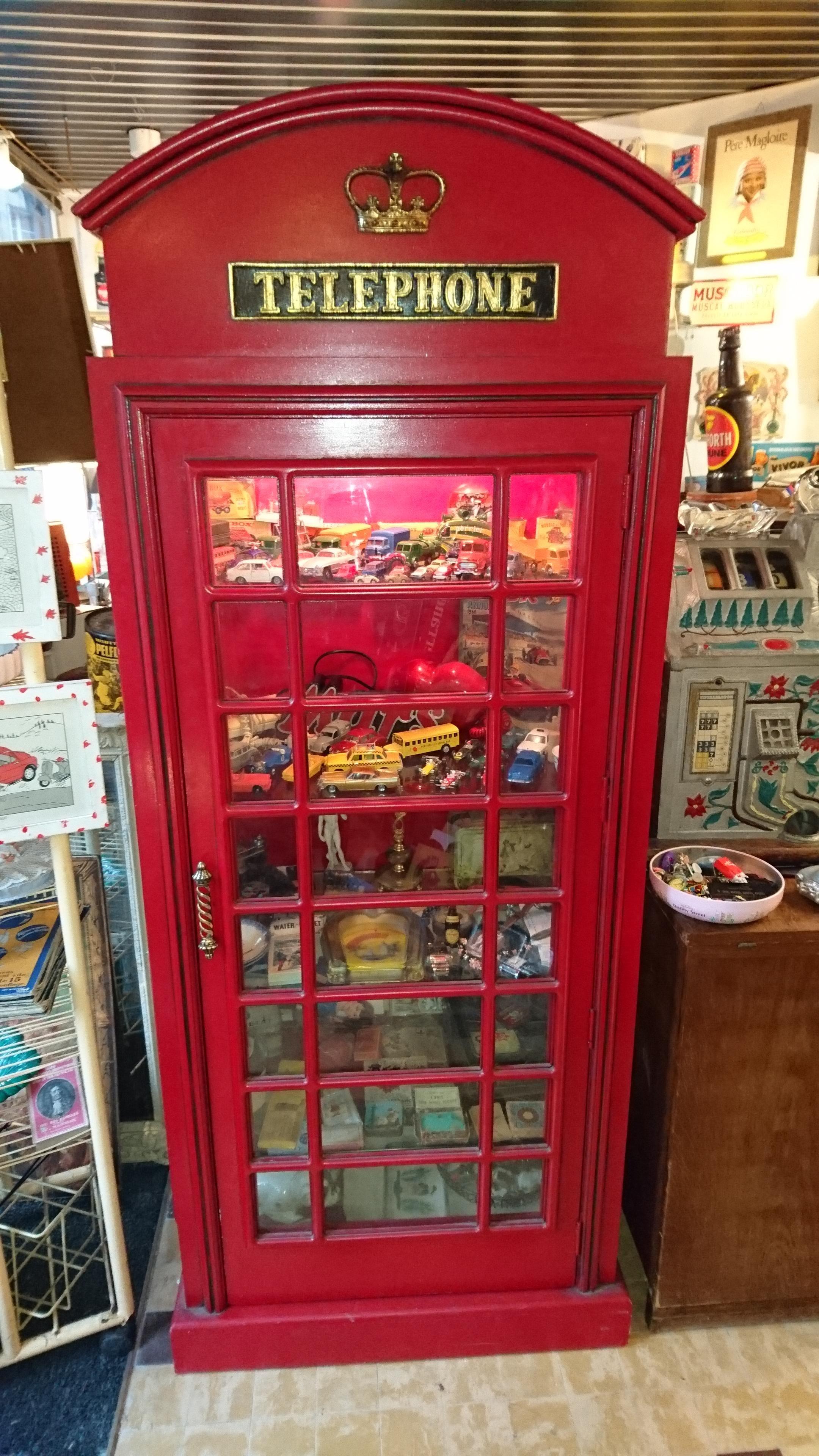 Jolie Vitrine Cabine Téléphonique Anglaise - Bois (Matériau) - Rouge -  Vintage - 165278