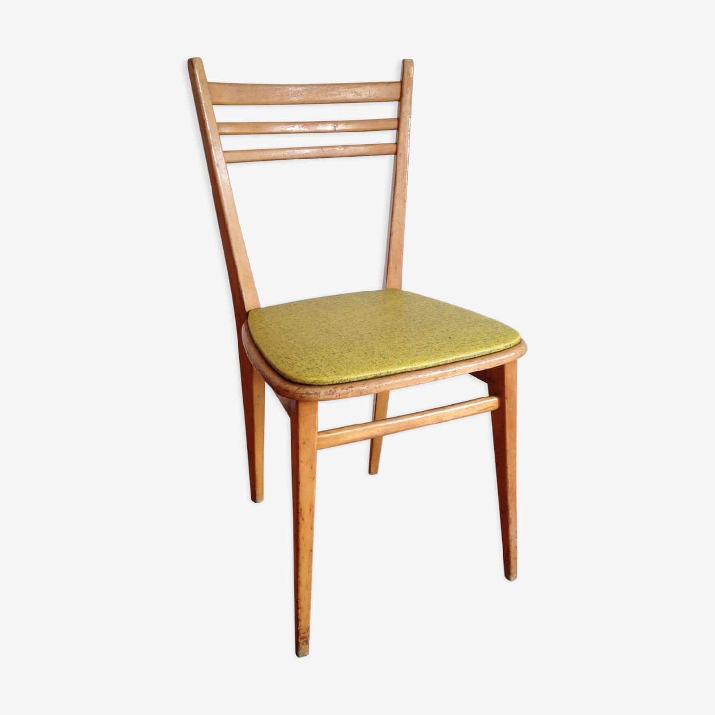 Chaise scandinave bois clair vinyle vert