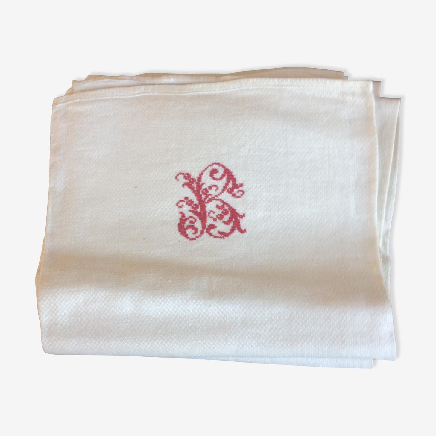 Lot de 6 serviettes en coton monogramme rouge