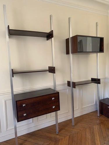 Modular shelf 1970 s brushed steel and wood