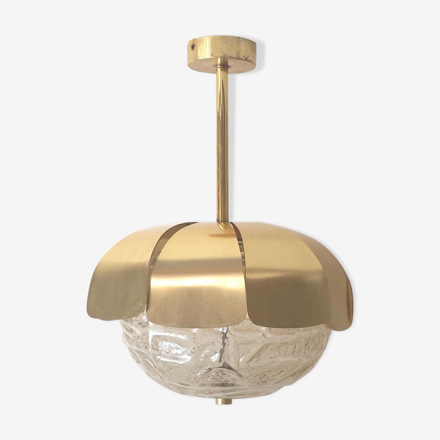 Metal golden chandelier of the 70s