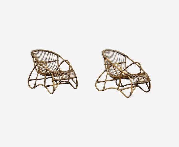 Paire de fauteuils en rotin 1960s