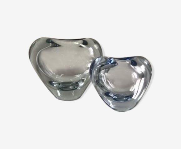 Set of 2 Holmegaard heart vase by Per Lutken