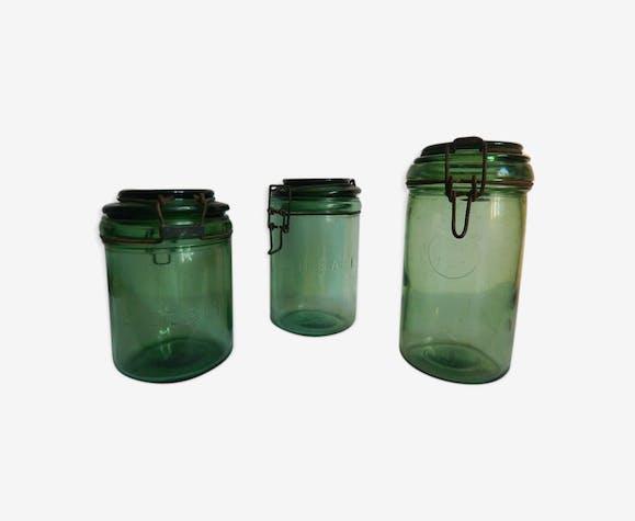 1b5aa62256 Bocaux anciens fumé vert marques dur for l'idéale - verre et cristal ...