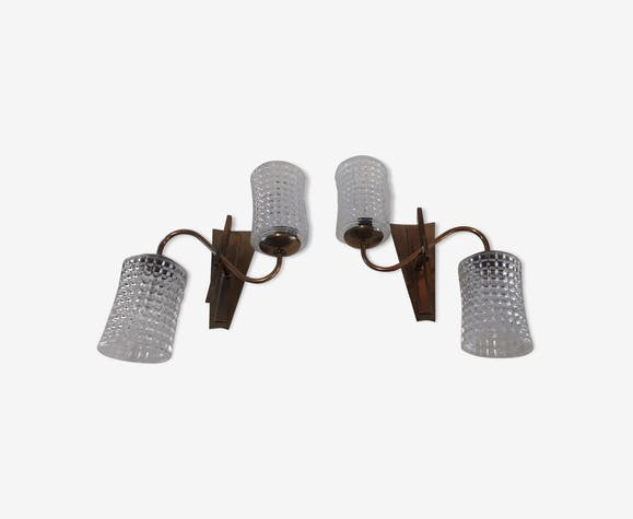 Duo of double wall lamps years 60