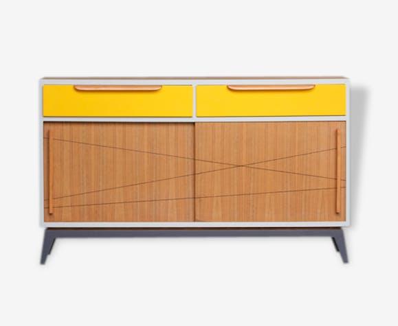meuble vintage en teck buffet style scandinave motifs. Black Bedroom Furniture Sets. Home Design Ideas