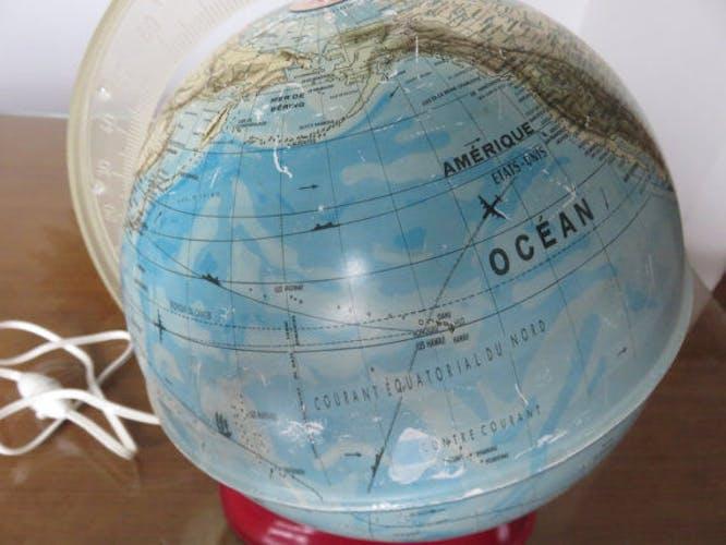 Globe terrestre en métal éclairé MS Germany des années 60/70