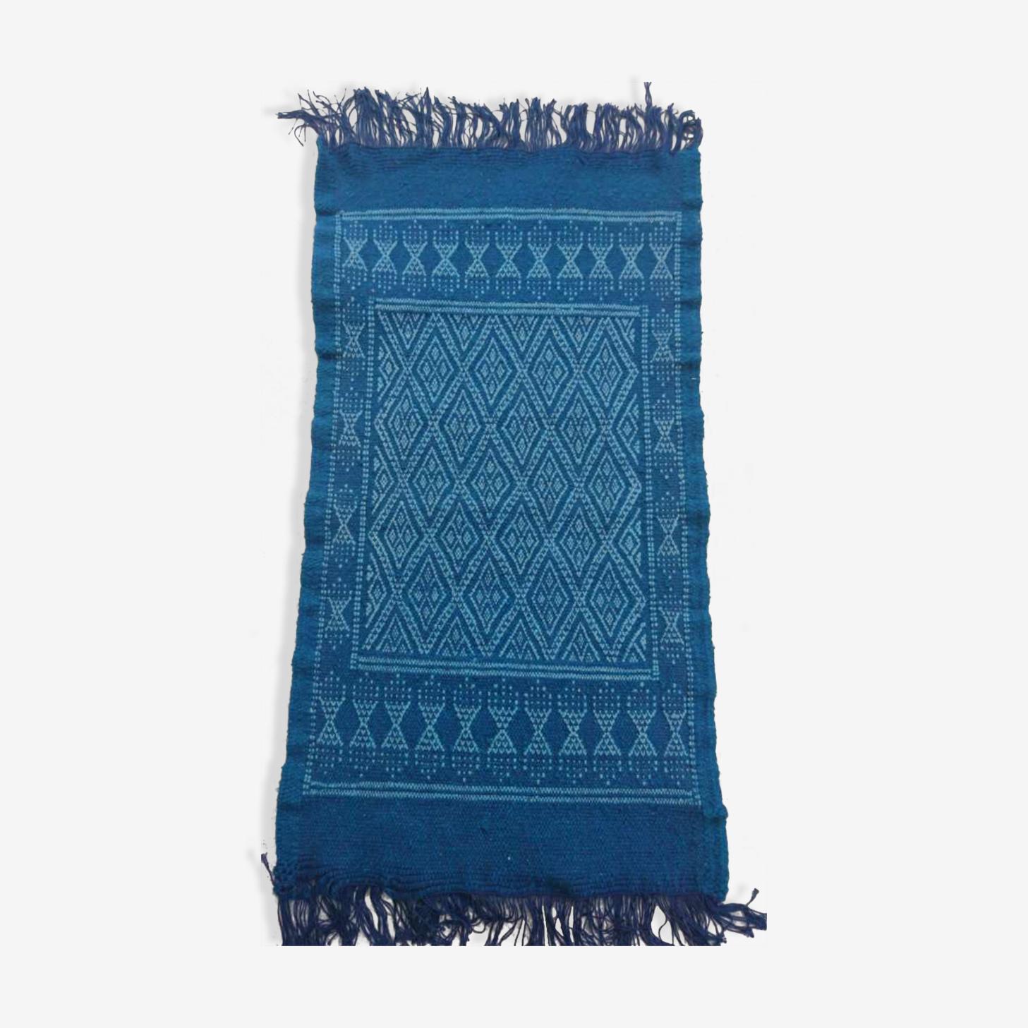 Tapis berbère fait à la main en pure laine bleu