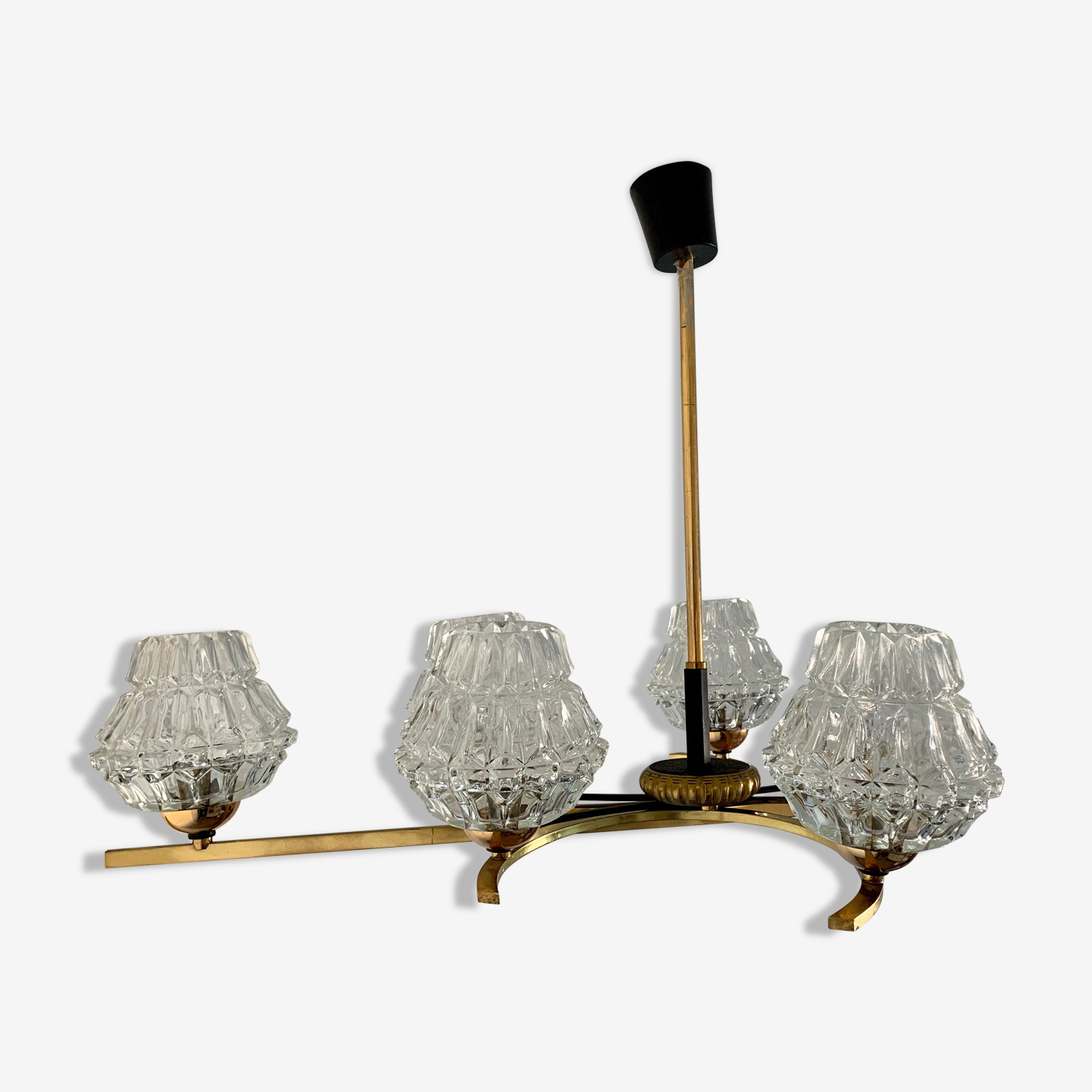 Chandelier glass and structure 60 year gold metal