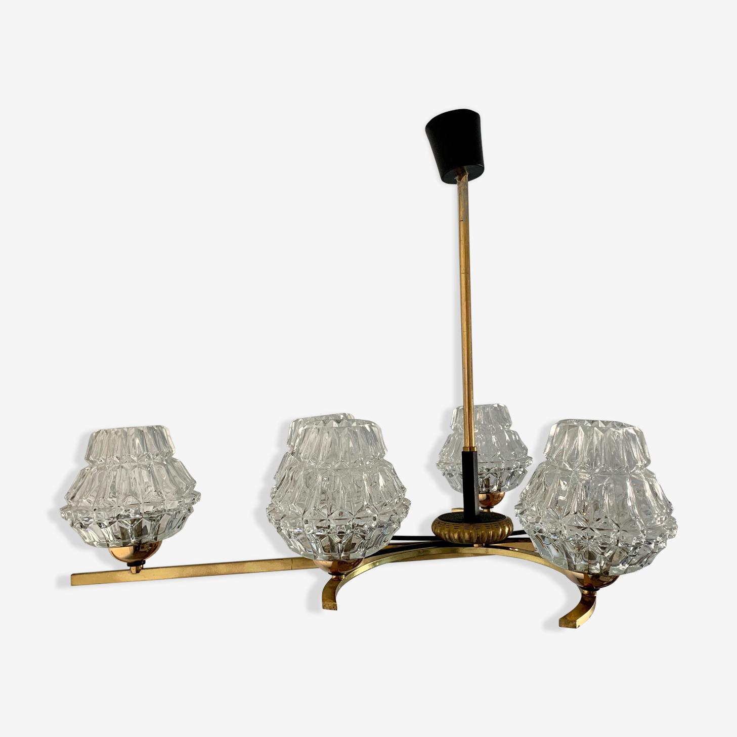 Lustre en verre et structure en métal doré années 60