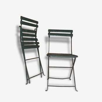 Pair of chairs of park or garden.