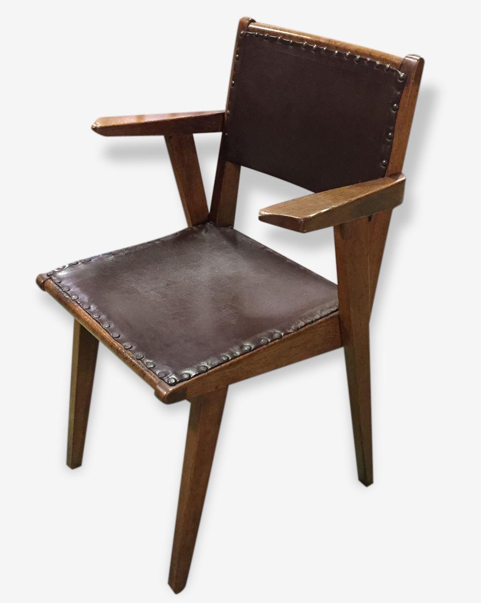 Fauteuil scandinave cuir et bois bois Matériau marron