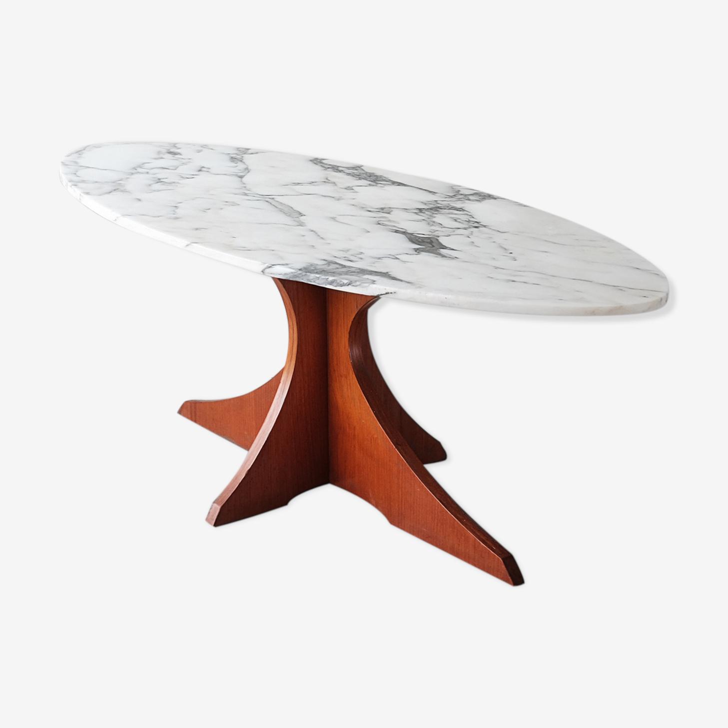 Coffee table wood & marble 60