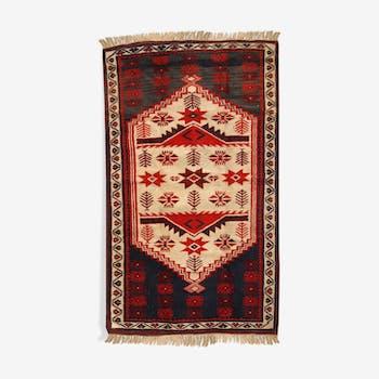 Vintage Turkish Anatolian done hand 87cm x 145cm carpet 1970 s