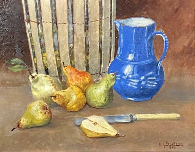 Huile sur toile nature morte aux poires daté 1942 Luc Albert Percheron XXème
