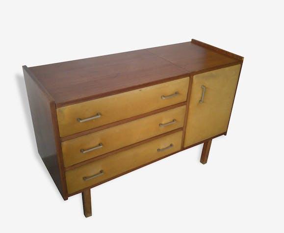 coiffeuse commode roger landault ann es 50 bois mat riau bois couleur vintage 54912. Black Bedroom Furniture Sets. Home Design Ideas