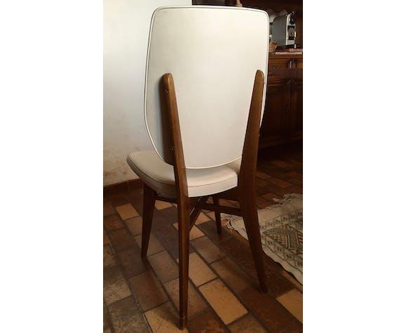 Chaise vintage en skaï blanc, bois, années 60