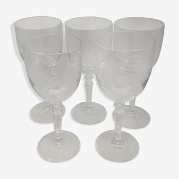 5 verre à vin en cristal