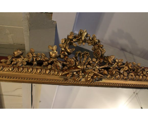 Mirror fireplace mirror with fronton floral decoration wrapped Louis XVI style 165x110cm
