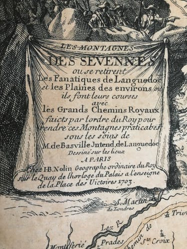 Old map of the Cévennes and GOLD Côtes d'Or