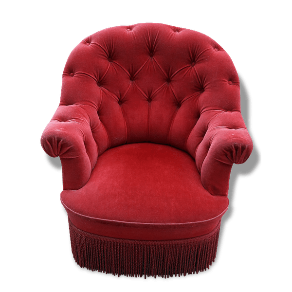 fauteuil crapaud velours rouge velours rouge classique 153330. Black Bedroom Furniture Sets. Home Design Ideas