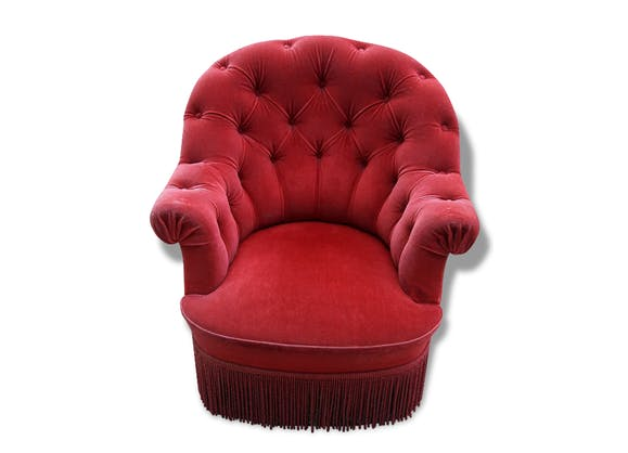 fauteuil crapaud velours rouge tissu rouge classique 153330. Black Bedroom Furniture Sets. Home Design Ideas