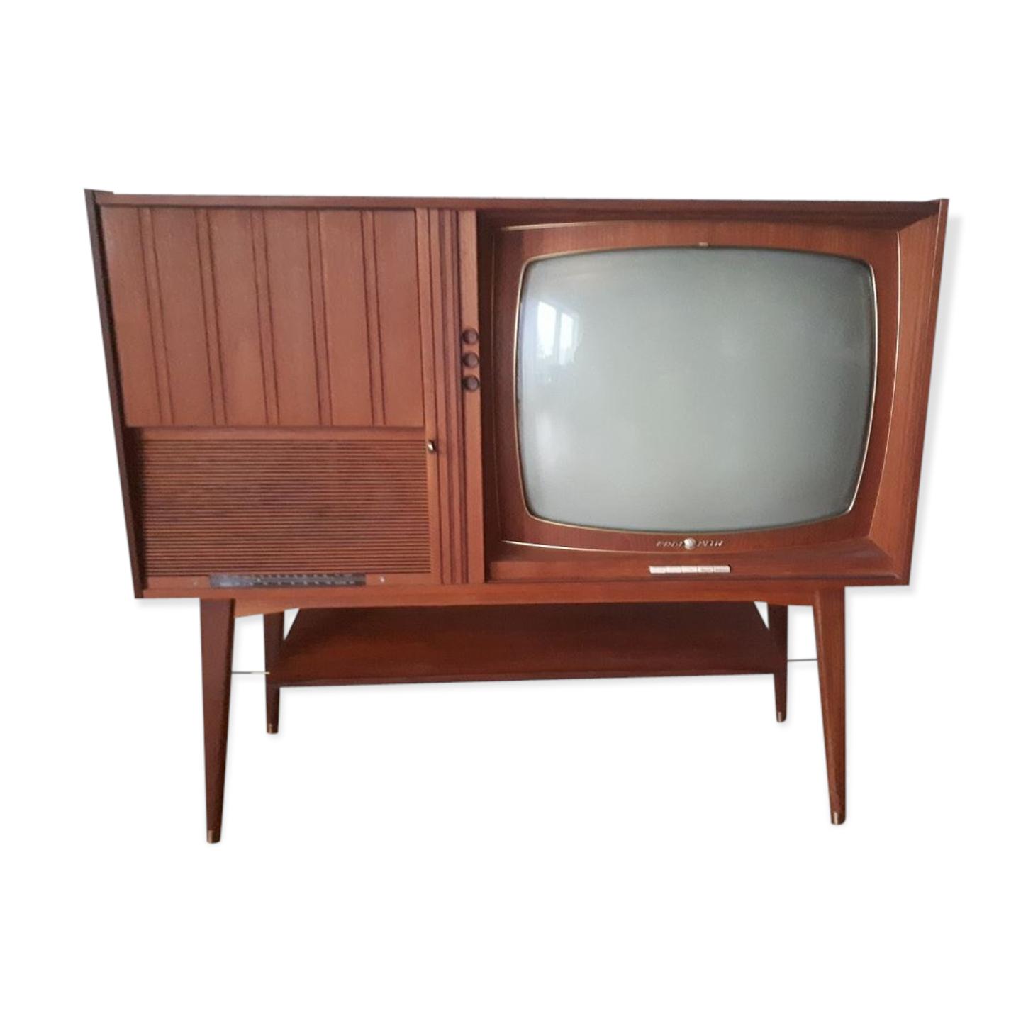 Cabinet T L Vision Hifi Scandinave Vintage Teck Bois  # Etagere Television Plat