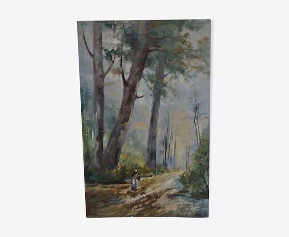 Tableau peinture huile sur panneau paysage