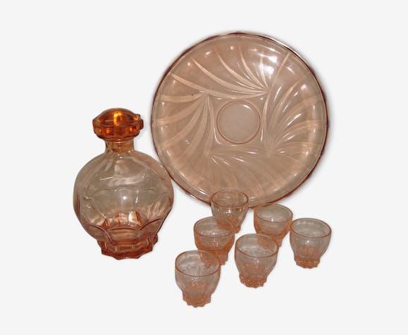 Carafe et verres à liqueur de 1950 couleur rose