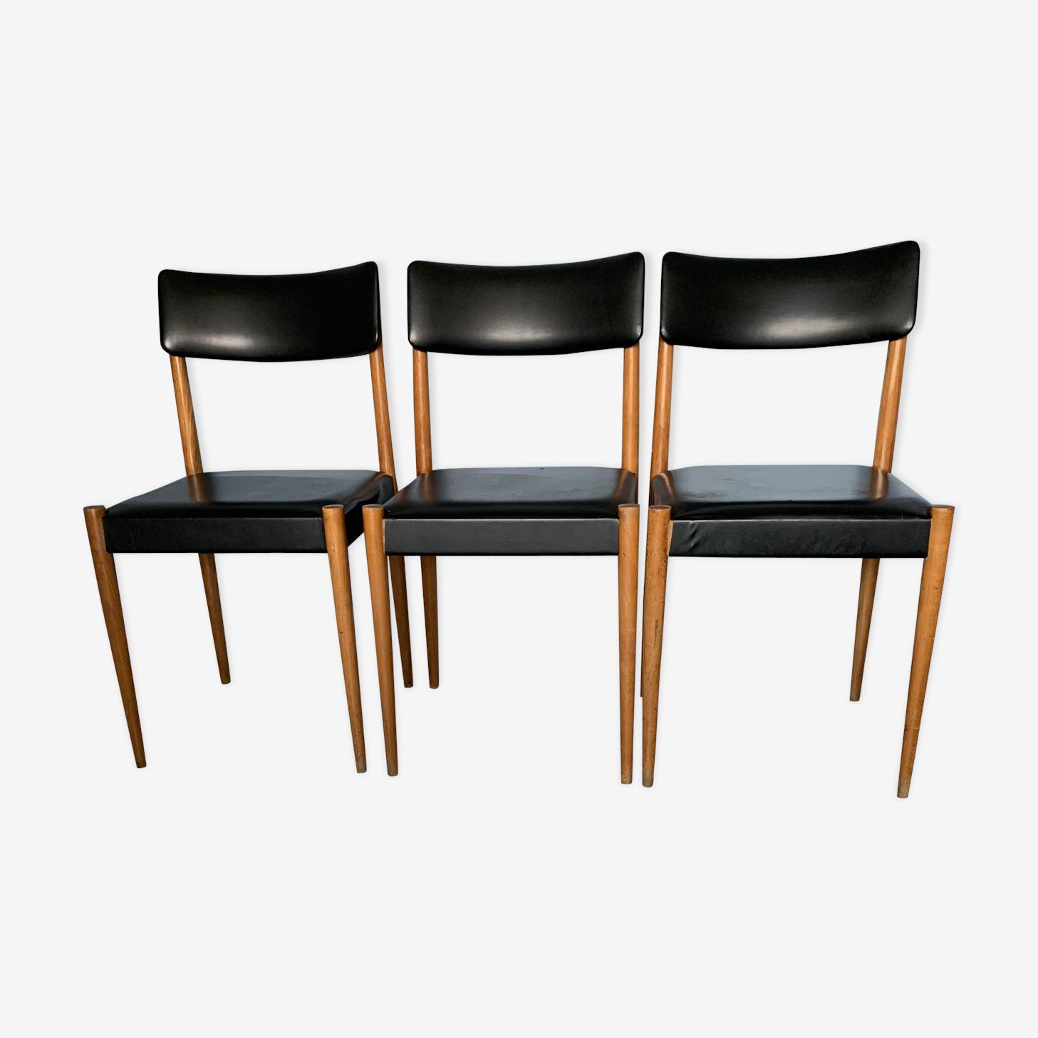 Série de 3 chaises 70's