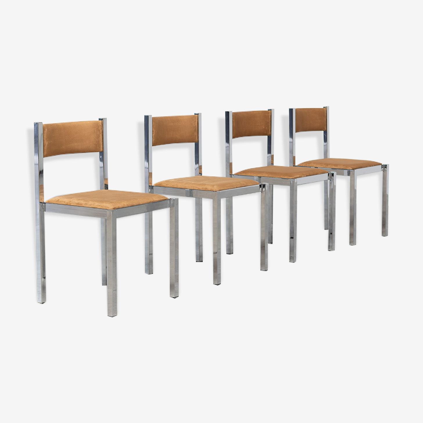 Four chairs chrome Cubist Cidue design Italy 1970