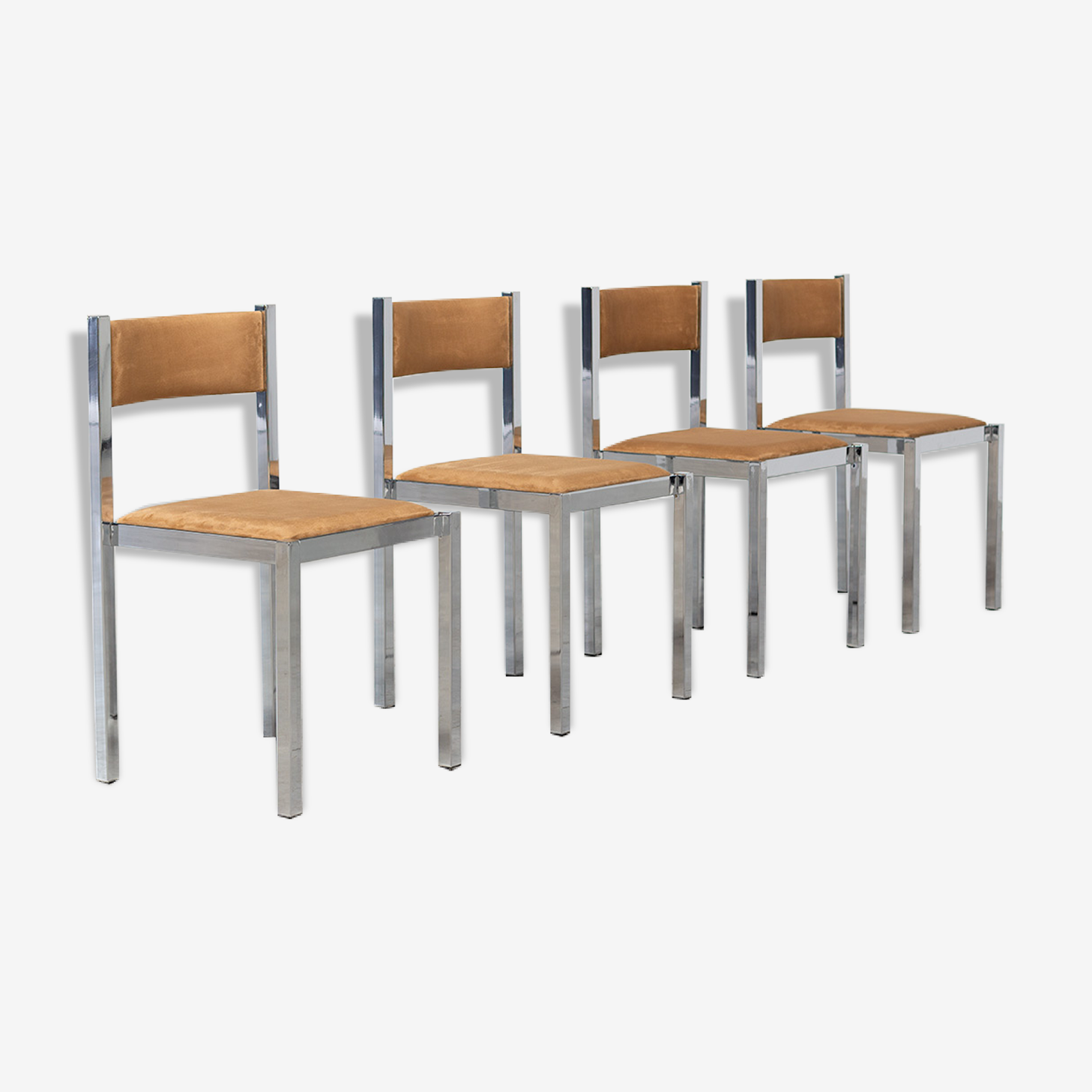 Quatre chaises chrome cubistes Cidue Italie design 1970