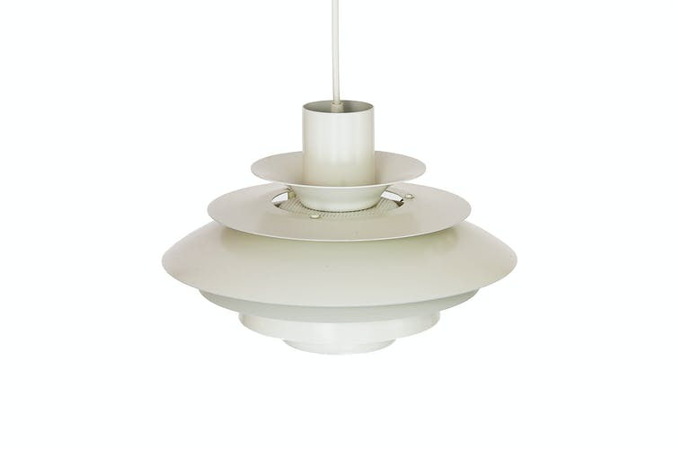 "Pendant light with white powder coating from ""Superlight"", Denmark 1970s"
