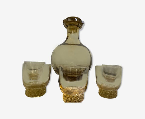 Yellow glass carafe and glasses