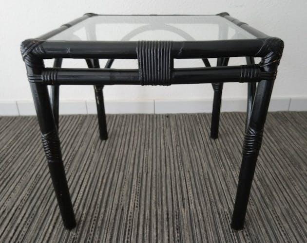 Table d'appoint en bambou et verre années 70