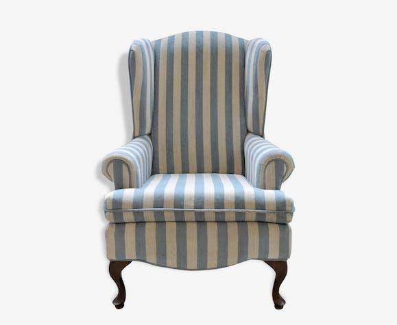 fauteuil berg re oreilles bleu et blanc tissu. Black Bedroom Furniture Sets. Home Design Ideas