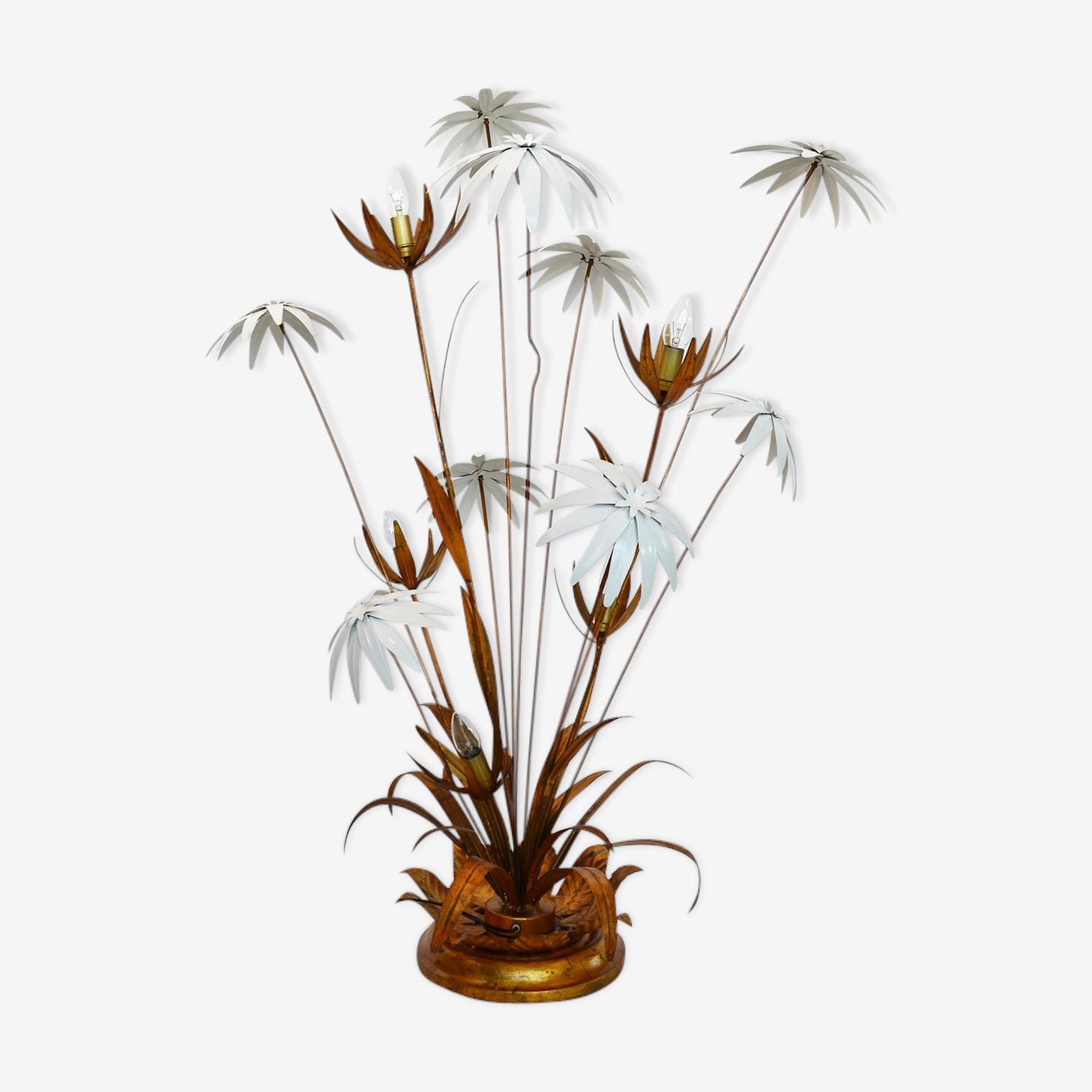 Lampadaire avec des fleurs blanches et or par Hans Kogl, années 1970