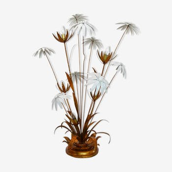 Floor lamp with white and golden flowers by Hans Kogl, 1970s