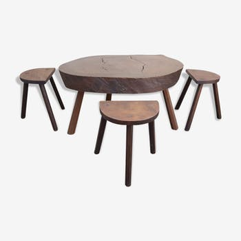 """Table low """"tree trunk"""" and 3 stools tripod vintage 60s"""