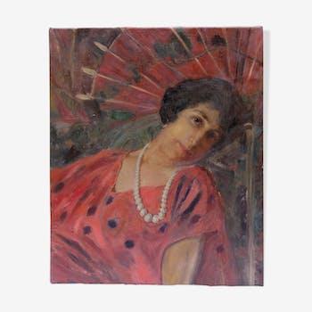 Portrait huile sur toile début xxème