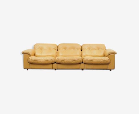 Canapé 3 places vintage jaune DS 101