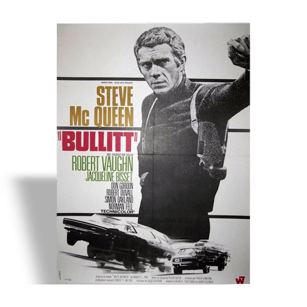 affiche originale de 1968 bullitt steve mcqueen papier vintage 14156. Black Bedroom Furniture Sets. Home Design Ideas
