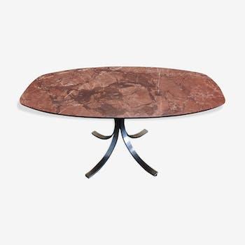 Table de salle à manger  ovale  en marbre rouge alicante techno