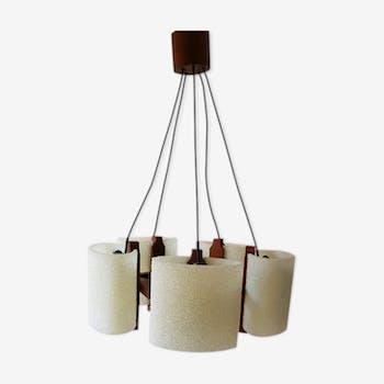 Teak hanging lamp 5 tulips 1960