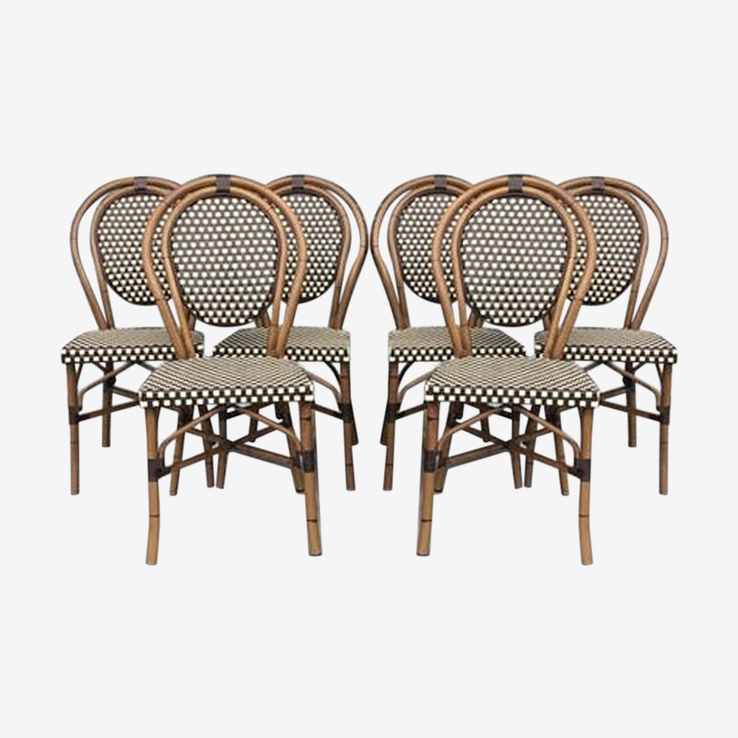 Ensemble de 6 chaises de bistrot parisien