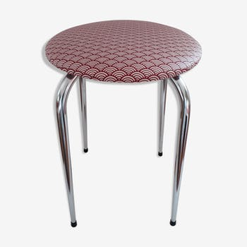 Chrome stool vintage late 1960s vague Japanese Red