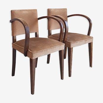 Paire de fauteuils bridge vintage circa 1960 bois et velours