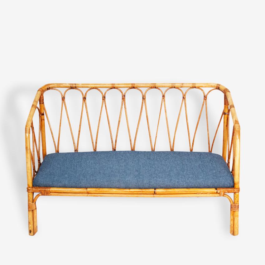 Canapé enfant vintage rotin 50's