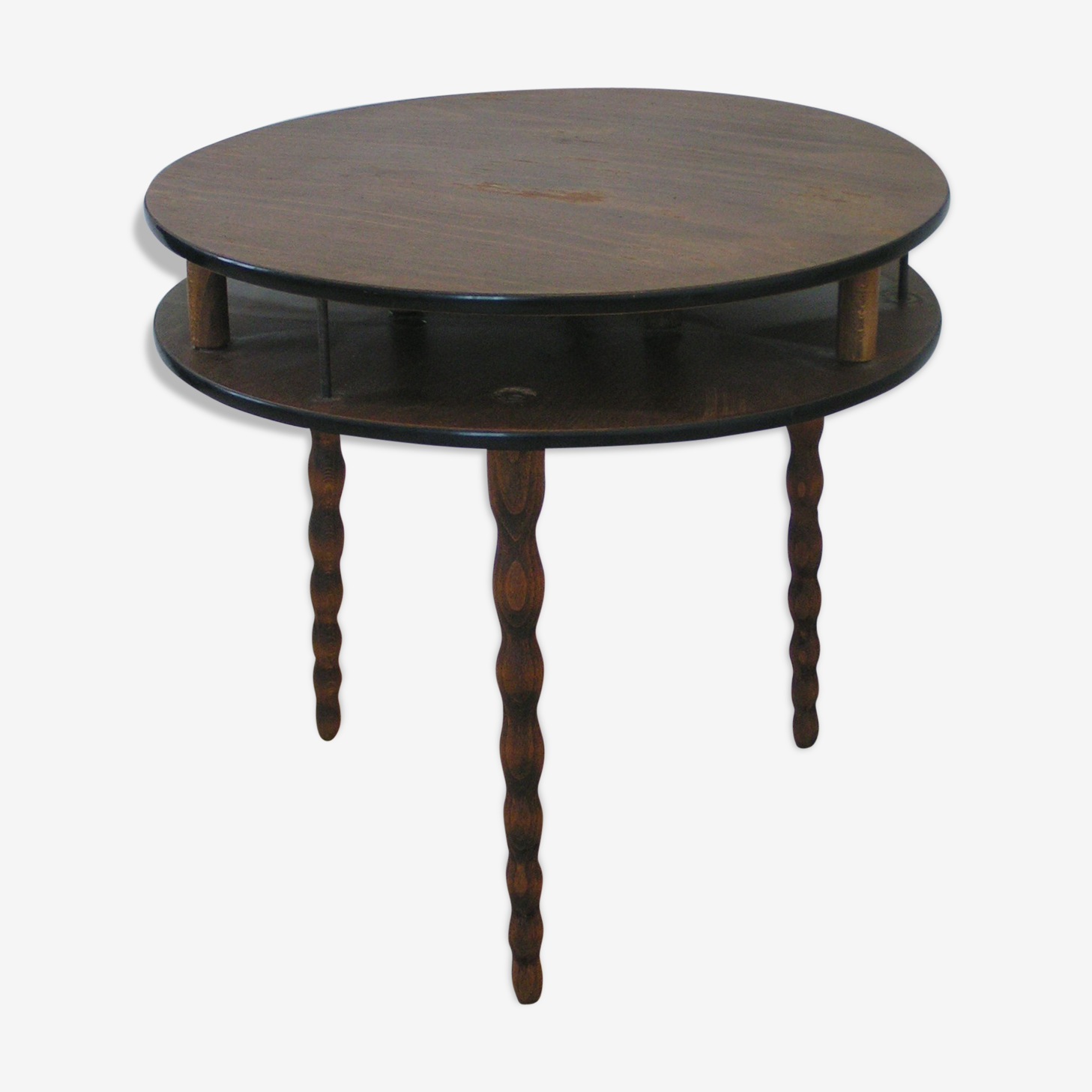 Table basse ronde en chêne années 60